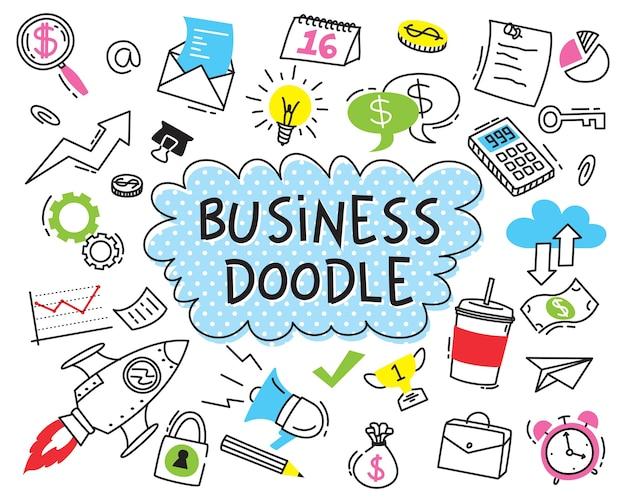 Ensemble d'affaires doodle sur fond blanc