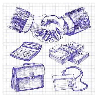 Ensemble d'affaires. illustrations dessinées à la main
