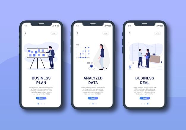 Ensemble d'affaires de l'interface utilisateur mobile écran