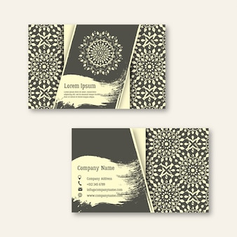 Ensemble d'affaires, visite, cartes de voeux avec mandal dessiné à la main