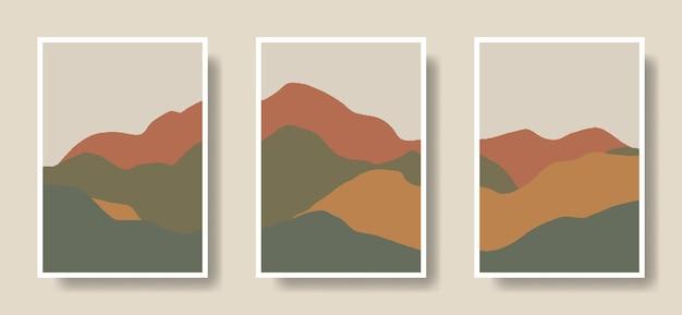 Ensemble, de, affiche, art, main, dessiné, boho, montagnes, illustration