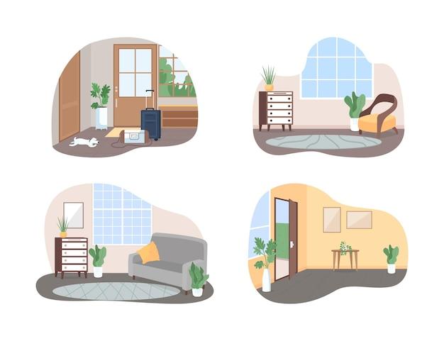 Ensemble d'affiche de bannière web 2d à l'intérieur de la maison familiale
