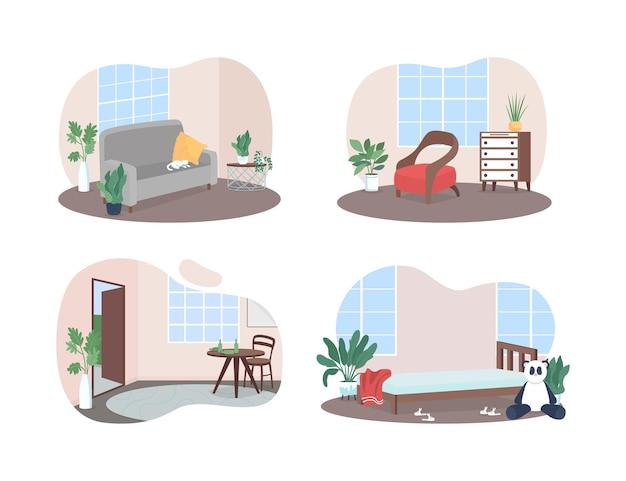 Ensemble d'affiche de bannière web 2d pour les chambres familiales