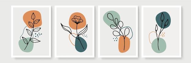 Ensemble d'affiche dans un style bohème minimal avec des feuilles tropicales. décoration murale abstraite moderne avec dessin d'art au trait de feuillage