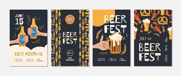 Ensemble d'affiche d'événement de fête de la bière