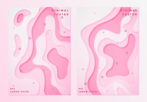 Ensemble d'affiche minimale dans le style de papier découpé