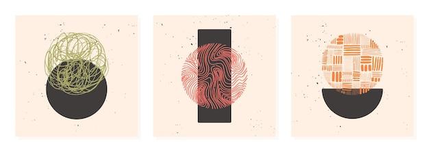 Ensemble d'affiche de motif dessiné à la main fait avec de l'encre, un crayon, un pinceau. formes géométriques de griffonnage de taches, points, traits, rayures, lignes.