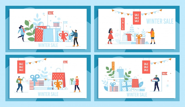 Ensemble d'affiche de promotion du marché de vente de vacances d'hiver