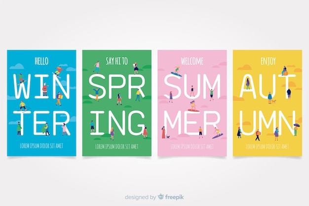 Ensemble d'affiche saisonnière dessiné main coloré