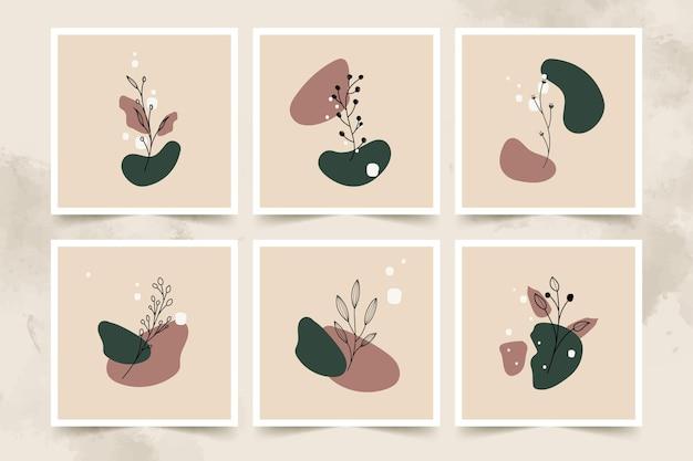 Ensemble D'affiches Abstrait Fleur Et Feuilles Minimaliste Vecteur Premium