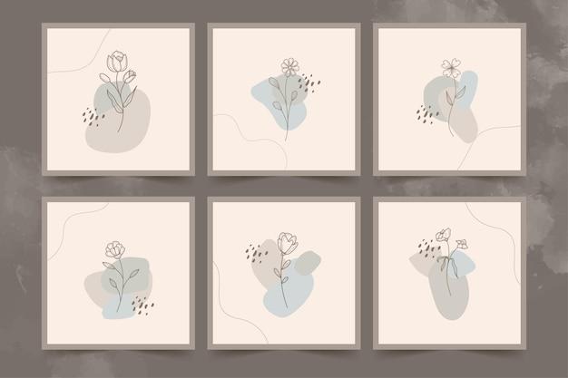 Ensemble d'affiches abstrait fleur et feuilles minimaliste