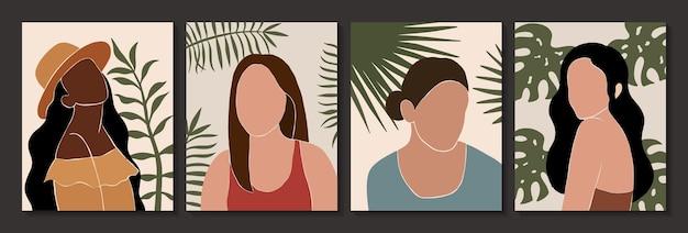 Ensemble d'affiches abstraites féminines et feuilles silhouettes dans un style boho