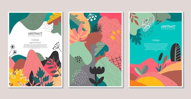 Ensemble d'affiches artistiques modernes vectorielles avec des textures dessinées à la main en forme de coeur fleurs