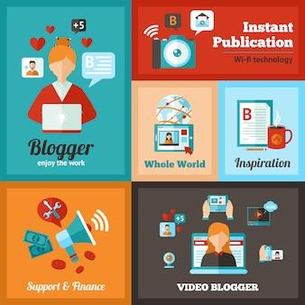 Ensemble d'affiches blogger