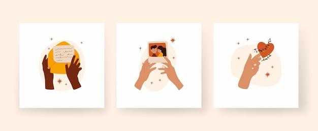 Ensemble d'affiches boho carrées mains de boho tenant des lettres et une photographie