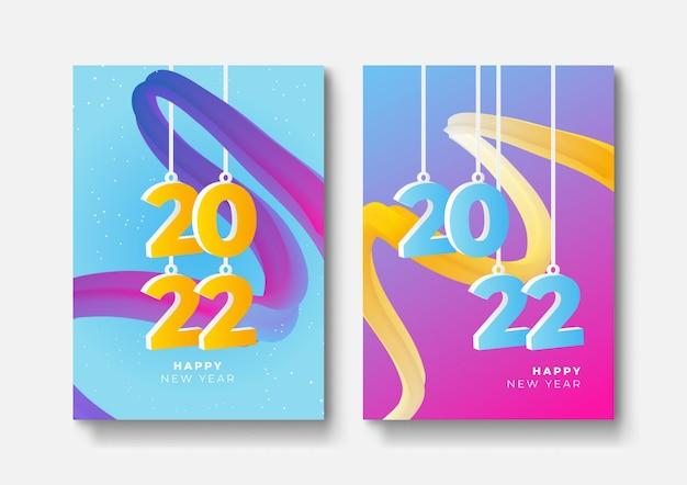 Ensemble d'affiches de bonne année, cartes de voeux, couvertures de vacances. modèles de conception de joyeux noël avec typographie, souhaits de saison dans un style minimaliste moderne pour le web, les médias sociaux. illustration vectorielle.