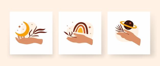 Ensemble d'affiches carrées de style bohème moderne avec des mains de femme