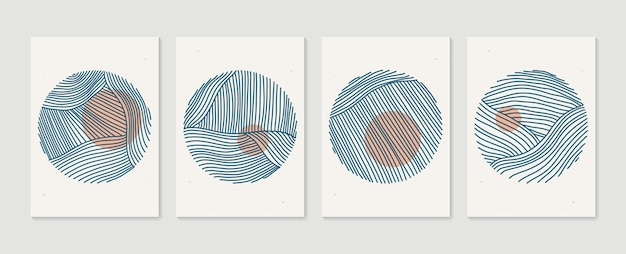 Ensemble d'affiches de cercle artistique minimaliste dessinées à la main