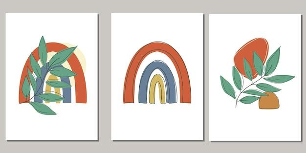 Ensemble d'affiches avec la conception de feuilles abstraites boho colorées
