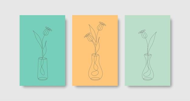 Ensemble d'affiches de couverture à une ligne de tulipes