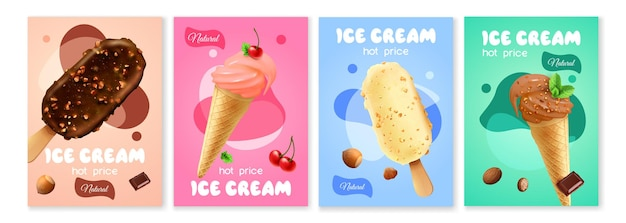 Ensemble d'affiches de crème glacée