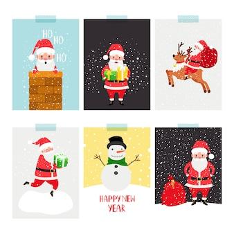 Ensemble d'affiches du père noël. dépliant d'hiver de noël avec le père noël et les cadeaux, le cerf de noël et le bonhomme de neige dans un dessin animé plat scandinave moderne