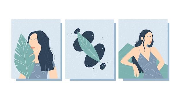 Ensemble d'affiches élégantes à la mode avec des formes féminines abstraites.