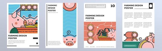 Ensemble d'affiches sur une ferme avec des porcs