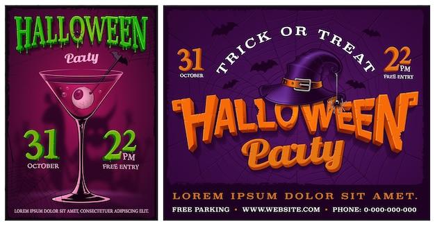 Ensemble d'affiches de fête d'halloween, bannières, flyer, arrière-plans. modèles de conception.