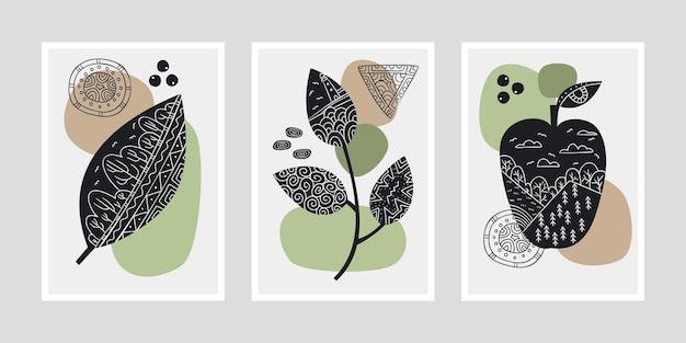 Ensemble d'affiches avec des feuilles et des fruits