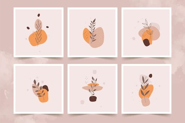 Ensemble d'affiches de fleurs minimalistes abstraites