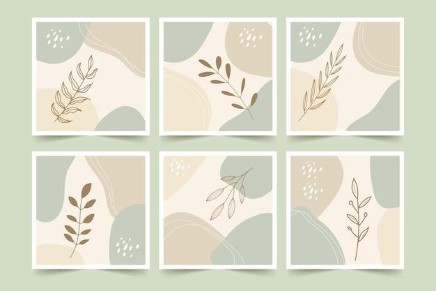 Ensemble d'affiches de fond abstrait fleur et feuilles minimaliste