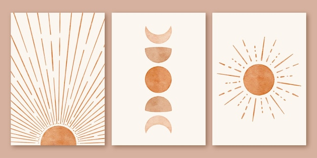 Ensemble d'affiches de fond en forme de soleil lune moderne minimaliste boho moderne du milieu du siècle