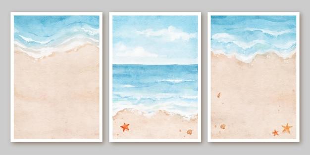 Ensemble d'affiches de fond de plage d'été dessinés à la main