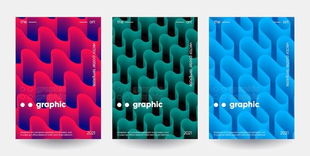 Ensemble d'affiches de formes dégradées.