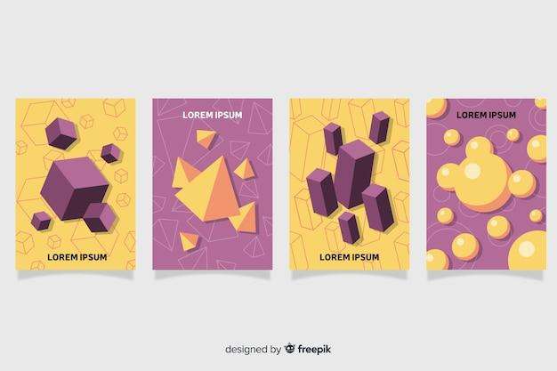 Ensemble d'affiches de formes géométriques antigravité à plat