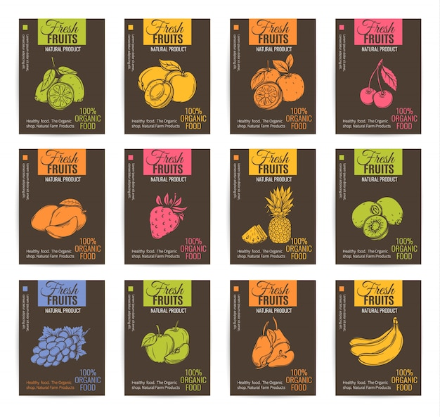 Ensemble d'affiches de fruits dessinés à la main.