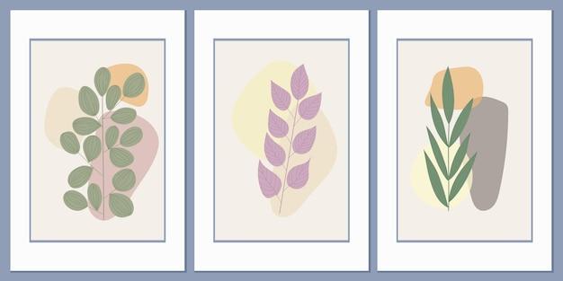 Ensemble d'affiches avec de l'herbe des champs sur un fond de formes géométriques abstraites