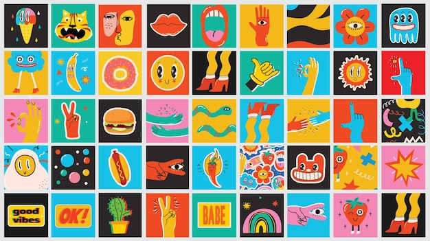 Ensemble d'affiches d'illustration vectorielle de différentes couleurs au design plat