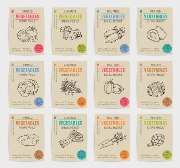 Ensemble d'affiches de légumes dessinés à la main.