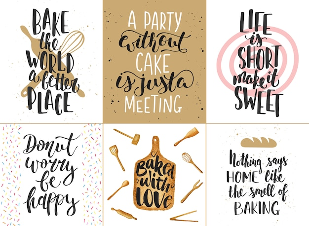 Ensemble d'affiches de lettrage de boulangerie, cartes de voeux, décoration, estampes. éléments de conception de typographie dessinés à la main.