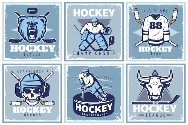Ensemble d'affiches de la ligue de hockey