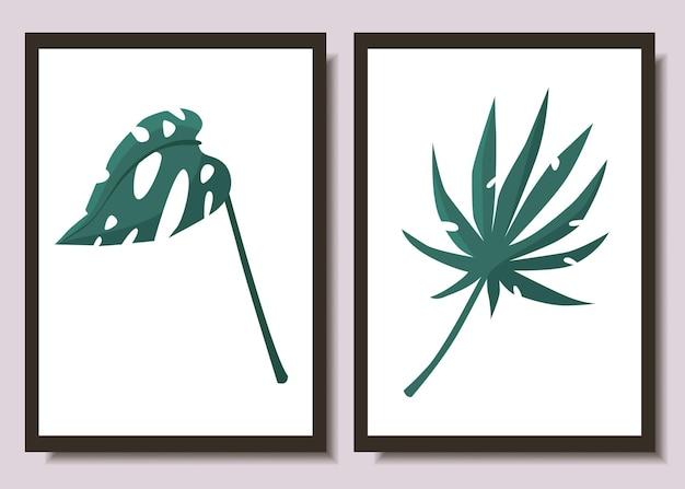 Ensemble d'affiches minimalistes avec des feuilles tropicales