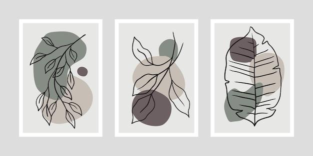 Ensemble d'affiches minimalistes avec des feuilles