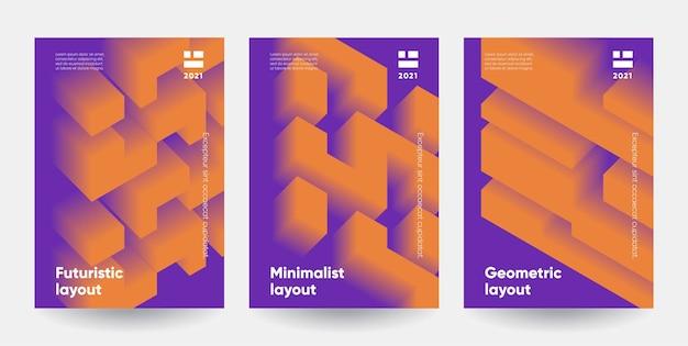 Ensemble d'affiches minimalistes. formes de dégradé modernes avec effet 3d.