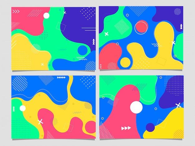Ensemble d'affiches ou de modèles, flyer avec art fluide abstrait coloré.