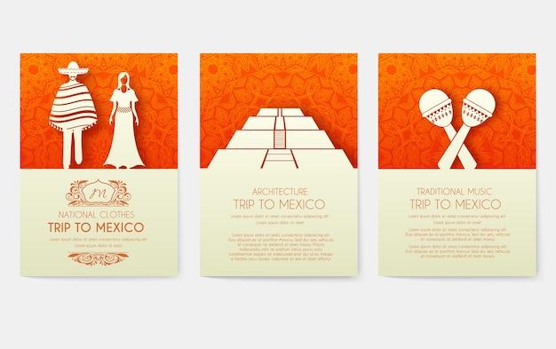 Ensemble d'affiches d'ornement de pays du mexique