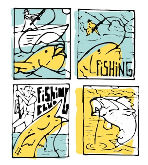 Ensemble d'affiches de pêche