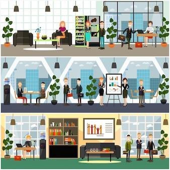 Ensemble d'affiches plat concept de vie de bureau
