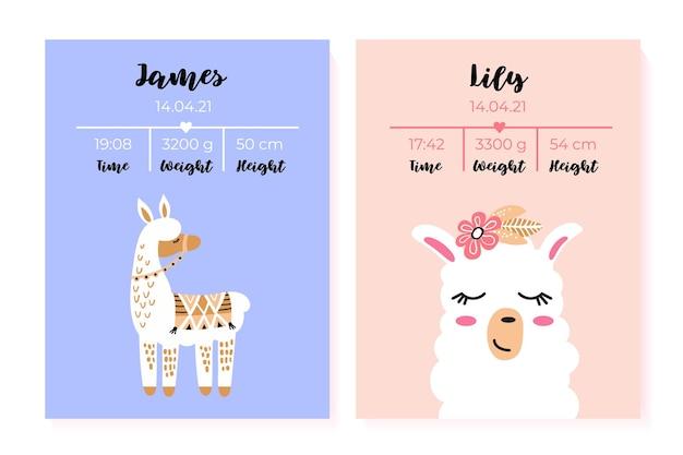 Un ensemble d'affiches pour enfants taille poids date de naissance lama